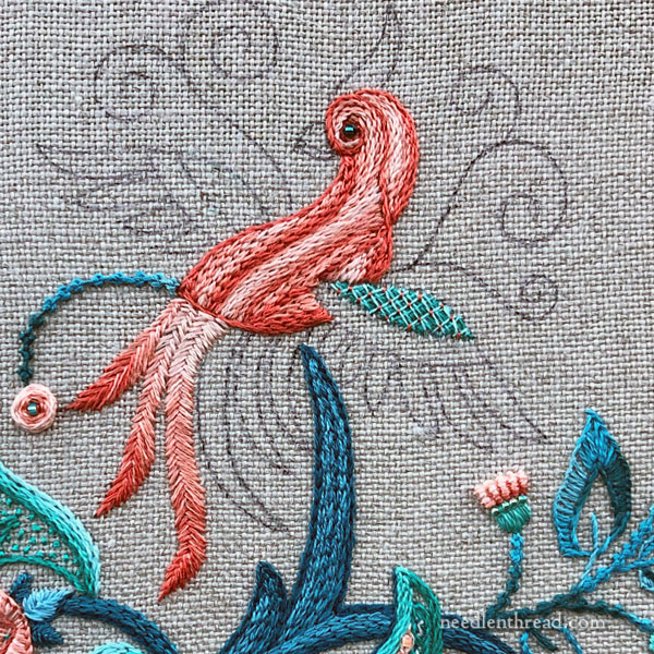Jacobean Design with Bird for Hand Embroidery