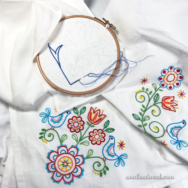 Weekend embroidery: Folk designs and linen tea cloth