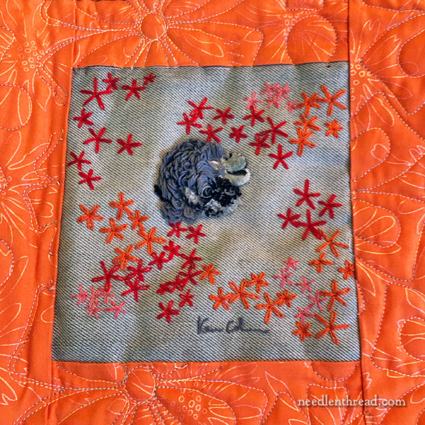 Thank You Quilt with embroidered squares