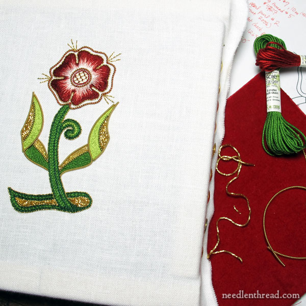Beginner goldwork & silk embroidery rose