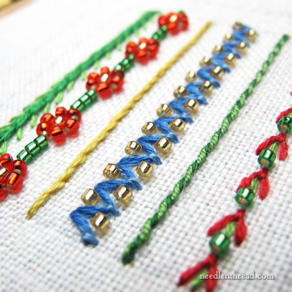 bead embroidery with fishing line
