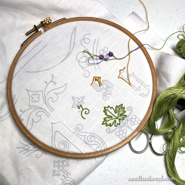 hand embroidered pall on linen with floche