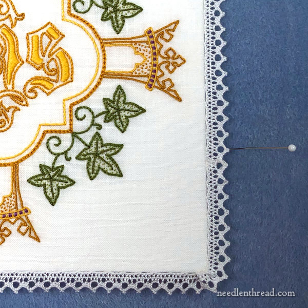 Hand Embroidered Communion Pall - IHS - by Mary Corbet