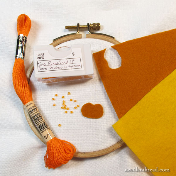 How to Embroider a Beaded Pumpkin