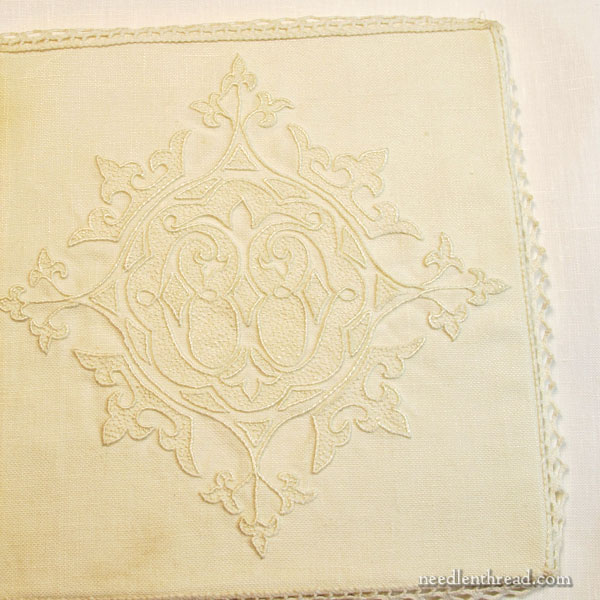 Whitening yellowed embroidered linen and removing stain