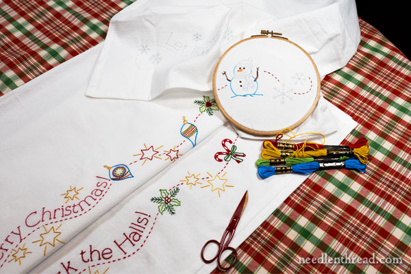 Christmas Cheer ready-to-stitch towel set