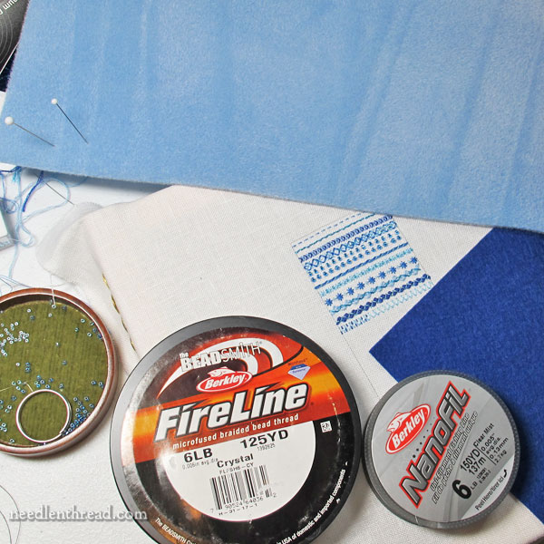 Using Fireline and Nanofil for embroidery with beads
