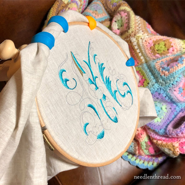 Sea to Stitch Monogram M, embroidery in silk on linen