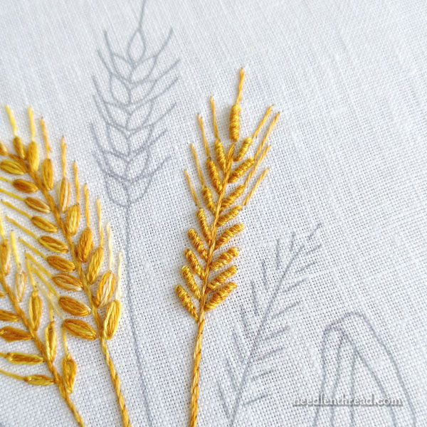How to Embroider Wheat five ways, part 3, bullion knots