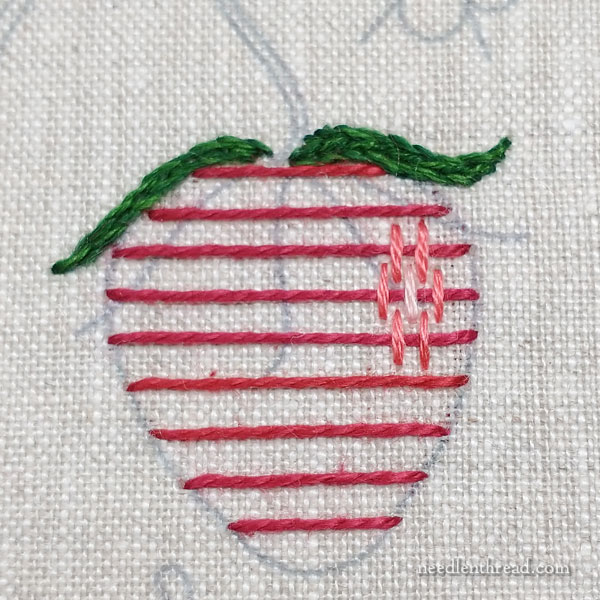 How to Embroider Strawberries: Burden Stitch and Woven Picots