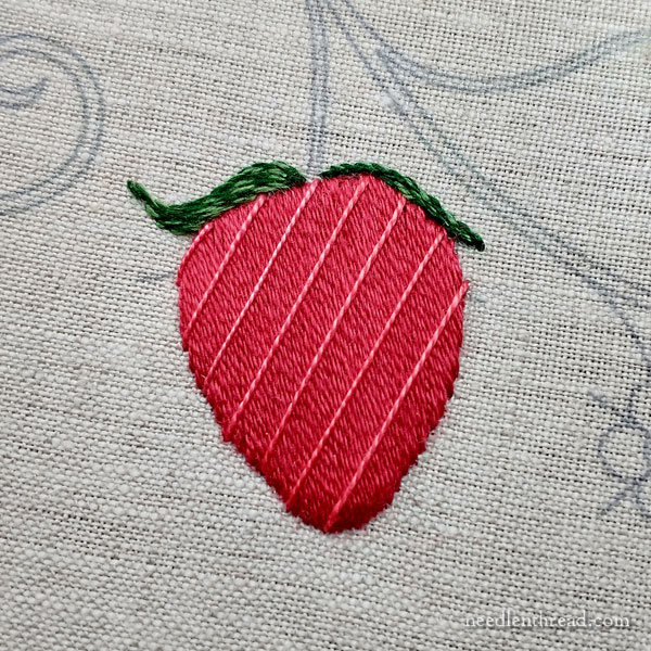 How to Embroider Strawberries: Lattice Work