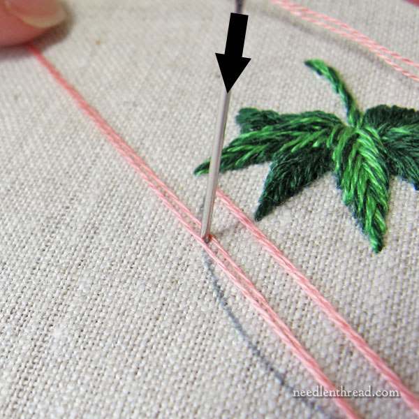 Embroidered Strawberries: Battlement Couching