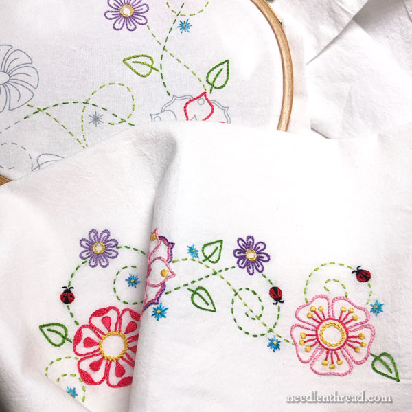 Garden Party ready to stitch towel set