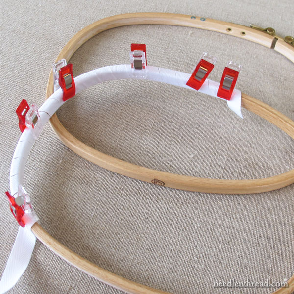Square round embroidery hoop - tips and binding the hoop