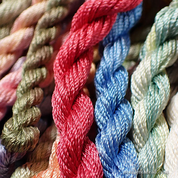 Chameleon embroidery threads - over-dyed Soie de Paris twists