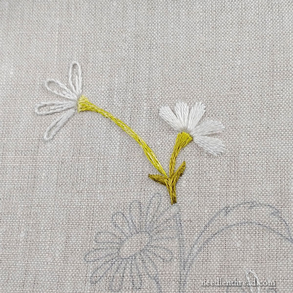 How to Embroider Daisies Part 2: Simple Petals & Stem