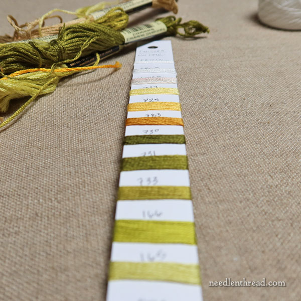Thread cards for embroidery project organization