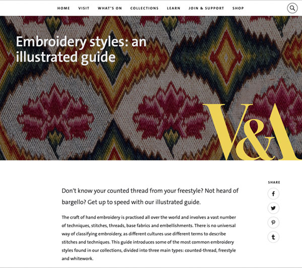 V&A embroidery styles illustrated guide