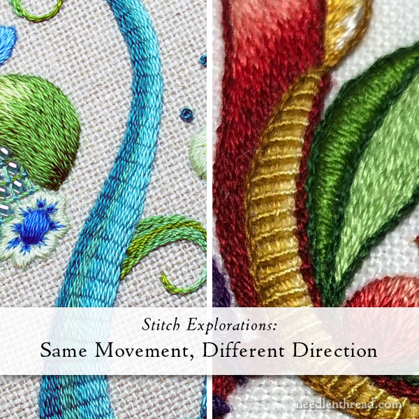 Raised Stem & Ribbed Stitch - embroidery stitches side by side