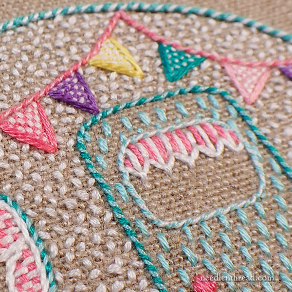 Happy Little Camper embroidery project for summer