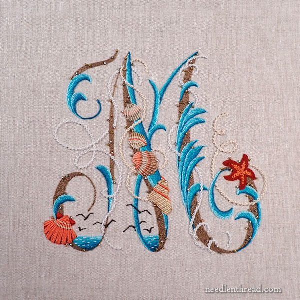 Sea to Stitch Monogram on Needle 'n Thread - finished embroidery