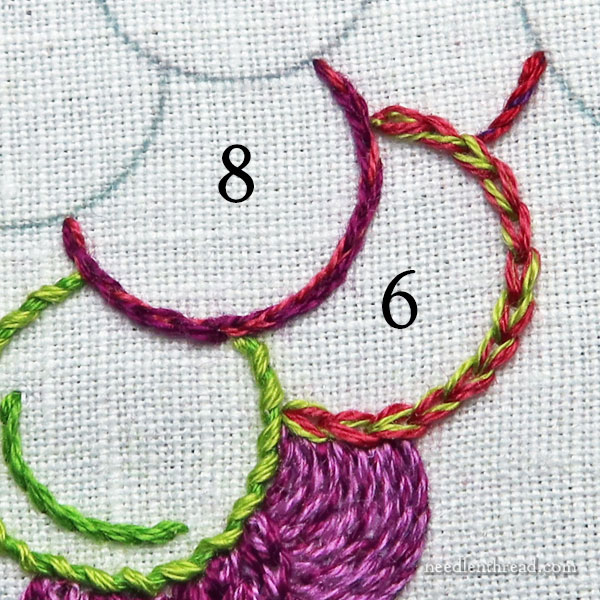 Embroidery Grapes: using outline stitches