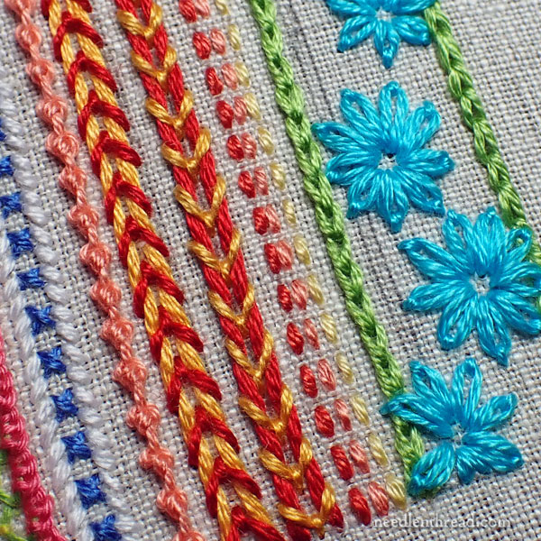 Fly Stitch Couching