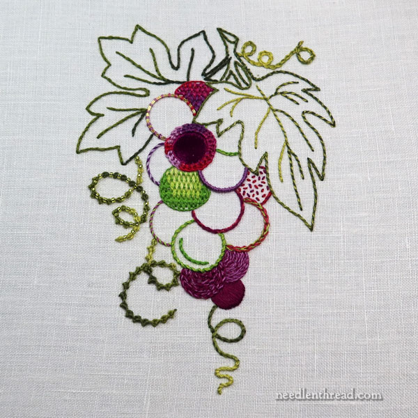 How to Embroider Grapes - the Bunch